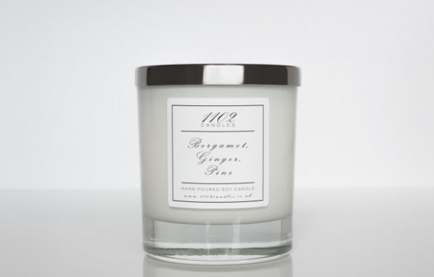 Women's gift ideas white candle with silver lid