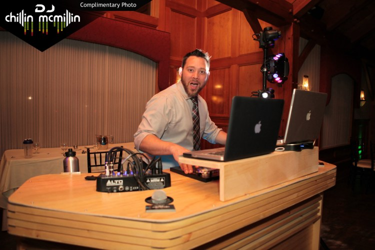 New England New Hampshire wedding DJ Chillin Mcmillin at the booth