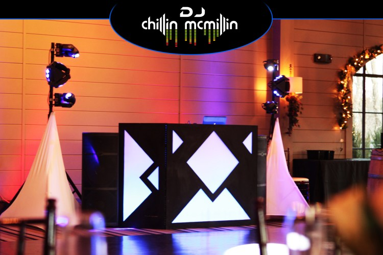 DJ Chillin McMillin Wedding DJ entertainment set up at LaBelle Winery in Amherst NH
