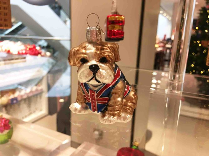 John Lewis bulldog Christmas ornament