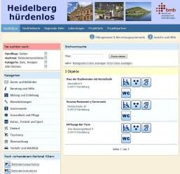 Bildschirmfoto der Website Heidelberg Hürdenlos mit der Liste der zugänglichen Kneipen mit behindertengerechter Toilette.
