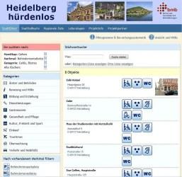 Bildschirmfoto der Website Heidelberg Hürdenlos mit der Liste der zugänglichen Cafés/Kneipen mit behindertengerechter Toilette.