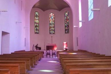 Blick auf das Lichtspiel in der Klosterkirche