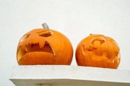 Zwei Halloweenkürbise auf einem Vorsprung