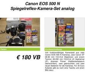 Aushang eines Angebots einer analogen Kamera bei Kleinanzeigen.
