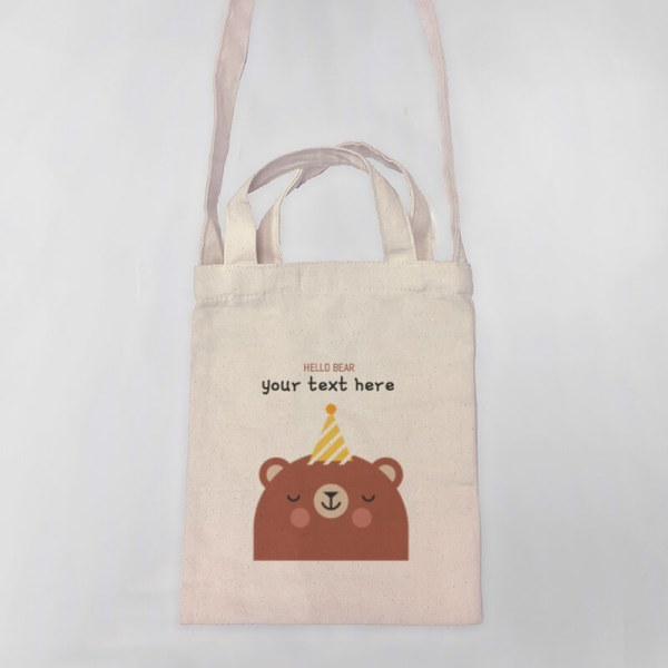 Hello Bear Mini Canvas Tote-bag, Custom our iTee template and make it yours. Product View