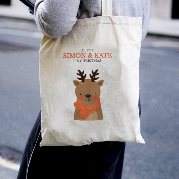 Deer Christmas Canvas Tote-bag Freesize, Custom our iTee template and make it yours. Model View