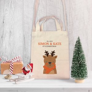 Deer Christmas Mini Canvas Tote-bag, Custom our iTee template and make it yours. Product View