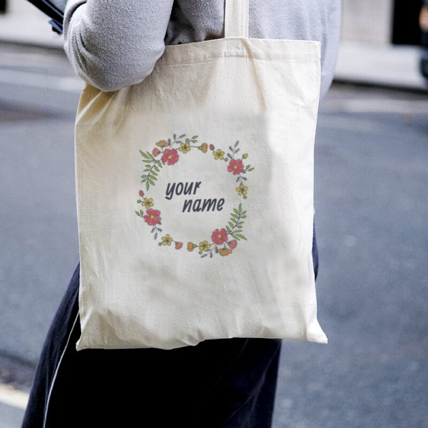 Floral Wreath Canvas Tote-bag Freesize, Custom our iTee template and make it yours. Model View