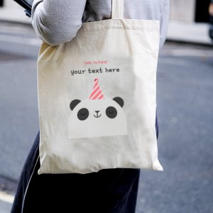 Hello Panda Canvas Tote-bag Freesize, Custom our iTee template and make it yours. Model View