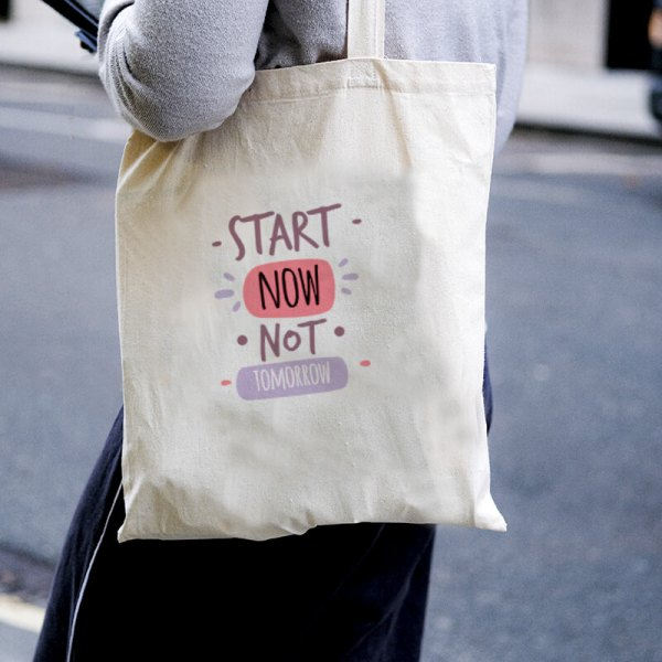 Start Now, Not Tomorrow Canvas Tote-bag Freesize, Custom our iTee template and make it yours. Model View