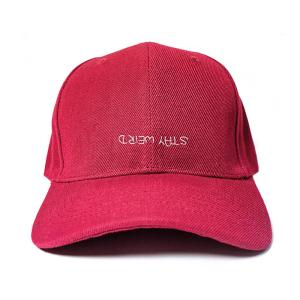 Stay Weird in Wine Red Embroidered Cap, Custom our iTee template and make it yours. Product View