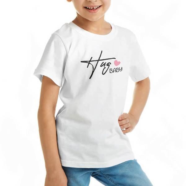 Custom your Hug Me White T-shirt Template, Girl Model View