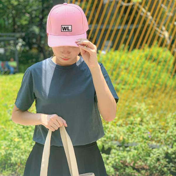 Initial Block Baby Pink Embroidered Cap, Custom our iTee template and make it yours. Model View