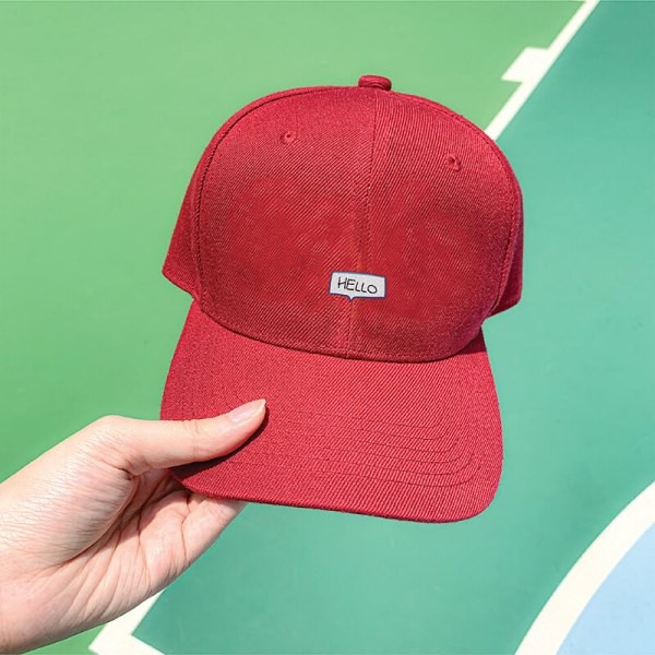 Say Hello! in Wine Red Embroidered Cap, Custom our iTee template and make it yours. Model View