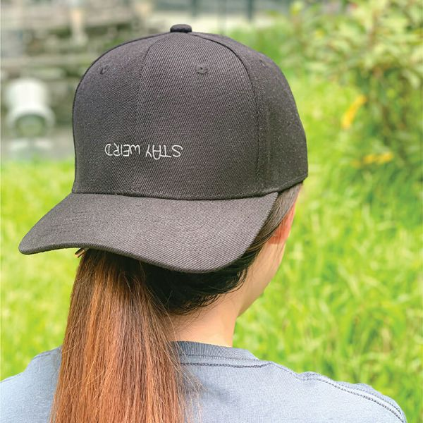 Stay Weird in Black Embroidered Cap, Custom our iTee template and make it yours. Model View