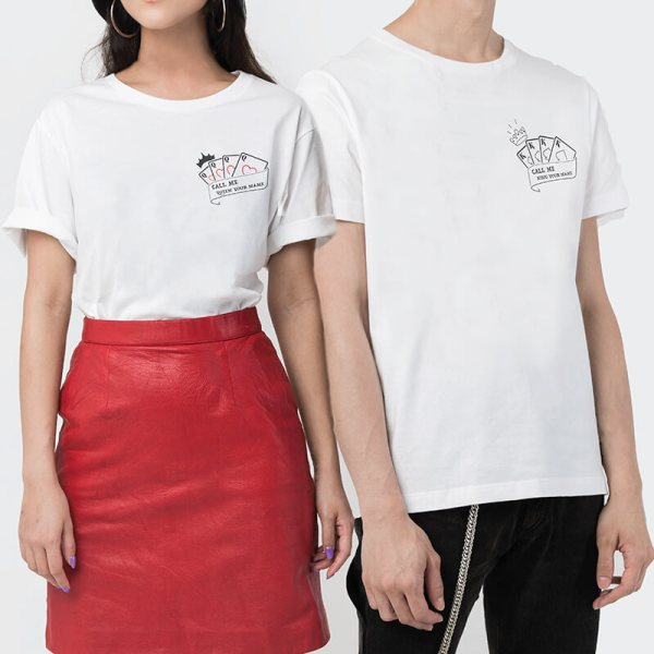 Custom your King & Queen White Unisex Crew T-shirt Template, Model