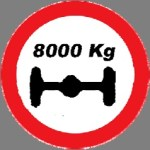 Closed to vehicles where the load on any one axle exceeds the load  indicated on the sign