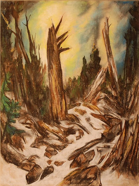 Howard Cook-Chimayo Trading del Norte-Oil Pastel-Trees
