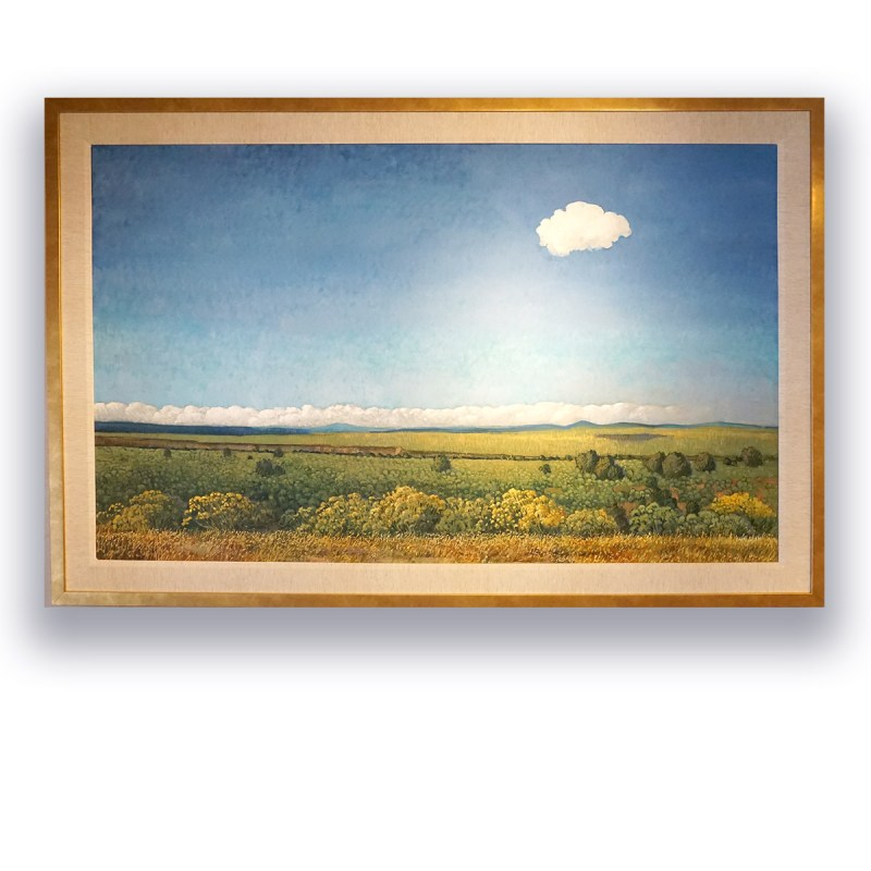 """Happy Little Cloud, Taos Overlook"", Donna Clair Oil on Belgian linen Image: 36""x60"" Framed: 43""x67"""