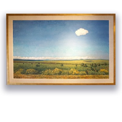 """Happy Little Cloud, Taos Overlook"", Donna Clair Oil on Belgian linen Image: 36""x60"" Framed: 43""x67"""