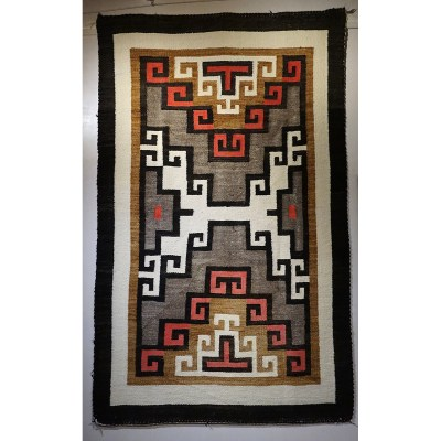 """Ca. 1930s - Crystal Navajo Rug Hand spun wool, natural colors and aniline dyes. 69""""x42"""""""