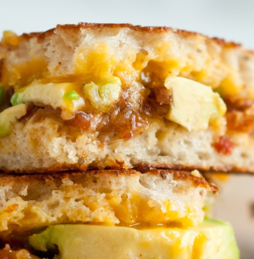 grilled cheese with bacon jam & avocado