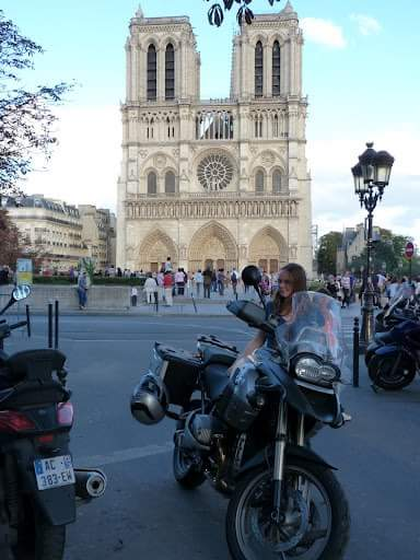 Traveling to Paris by Motorbike - Parking outside Notre Dame