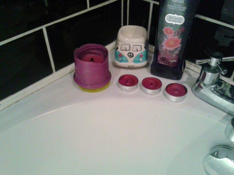 Lavender candles and bubble bath