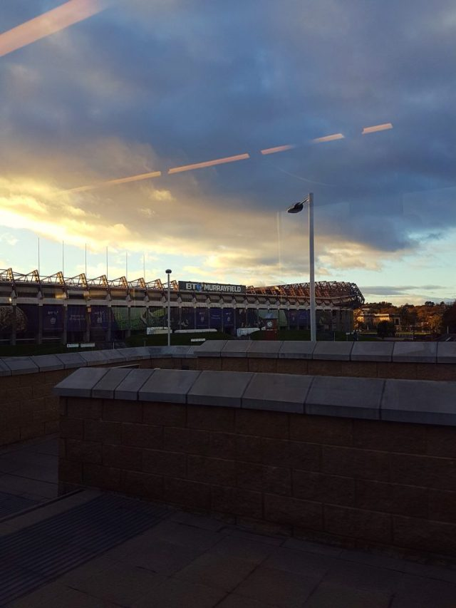 Sunset over Murrayfield Stadium