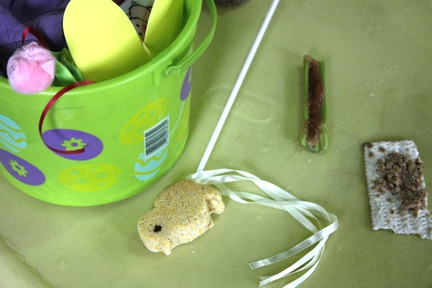 Easter bucket, cornbread peep, celery with pnut butter, matzoh with harosset