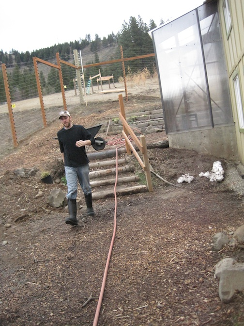 hose to greenhouse, J.B.
