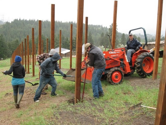 Andy Jim Lucas Keith JB fence post construction