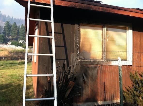 bedroom side of caregiver house burned by fire