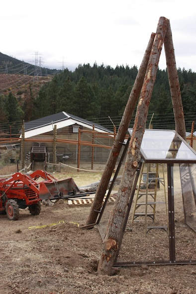 Negra's cabin under construction, greenhouse in background