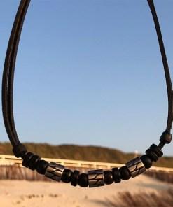 Halskette Edelstahlperlen Surferkette Lederkette