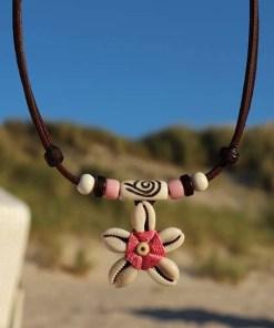 Halskette Muschelkette Blumenkette Lederkette