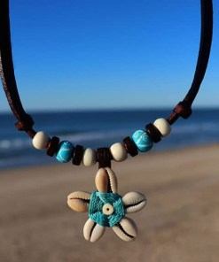 Muschelkette Blumenkette Damenkette Lederkette