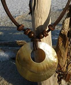 Muschelkette Perlmutt Halskette Lederkette