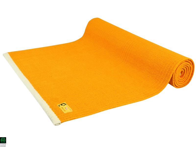 tapis de yoga taj 100 coton bio sans caoutchouc 2 m x 66 cm x 5mm orange safran