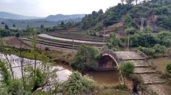River with Traditional Bridge