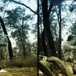 Japanese officer performing seppuku during World War II