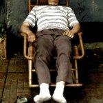 Old Chinese man sleeping