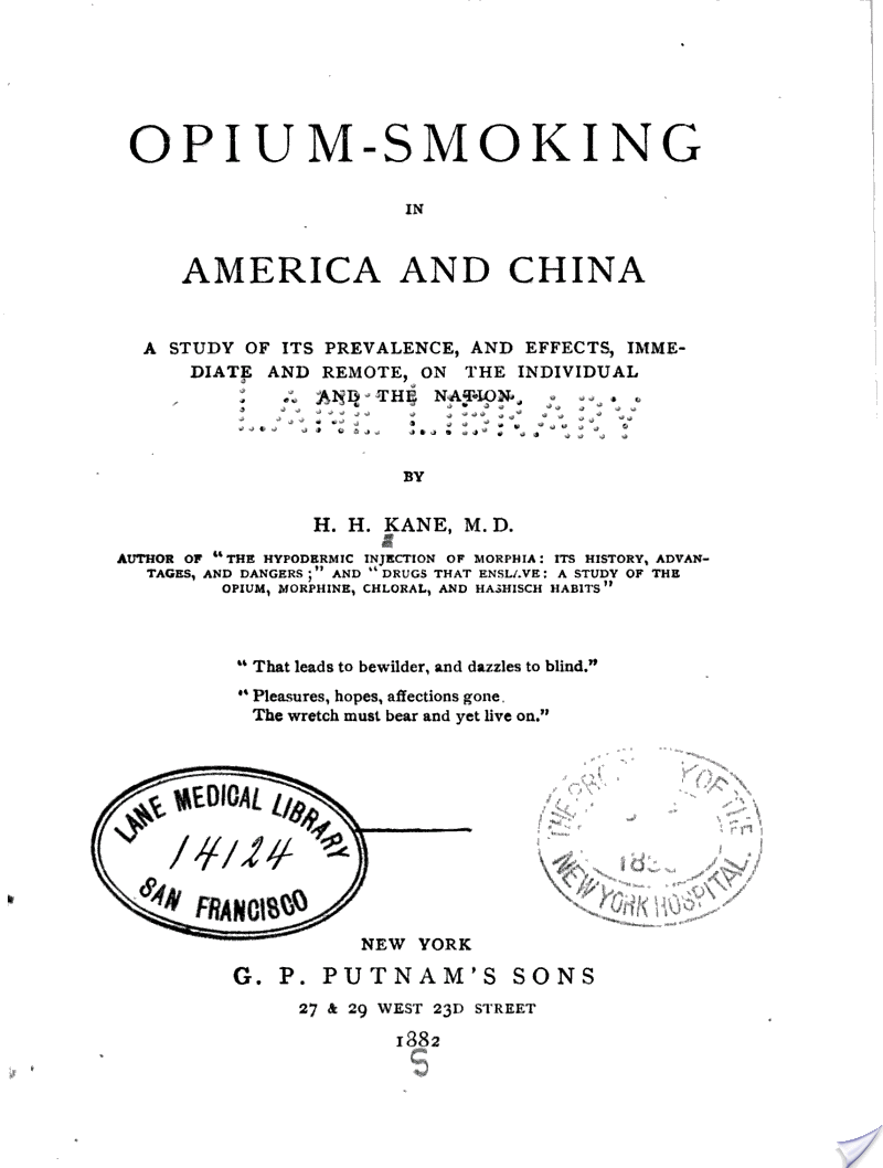 Opium-Smoking in America and China