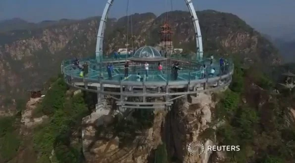 China's towering glass-bottom platform opens