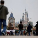 People visit Disney Town of Shanghai Disney Resort in Shanghai