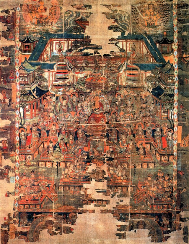 "Paradise of Bhaishajyaguru, color on silk, 206 x 167 cm. The image was discovered at the Mogao Caves near Dun Huang in the ""1000 Buddha cave"". Bhaishajyaguru (Buddha of Healing) is seated in the center of the image. Bodhisattvas are dancing and playing music in front of him. Located at the British Museum"