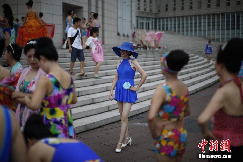 Chinese old woman in bikini