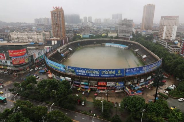 A stadium is flooded after heavy rainfall in Ezhou, Hubei Province, China, July 2, 2016. Picture taken July 2, 2016. REUTERS/Stringer