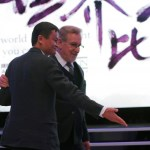 Jack Ma, chairman and chief executive of Alibaba Group gestures to Steven Spielberg, film director and chairman of Amblin Partners during an event to announce partnership between Alibaba Pictures Group Limited and Amblin Partners, in Beijing